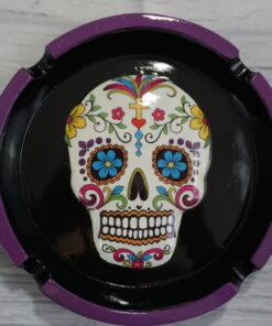white sugar skull ashtray