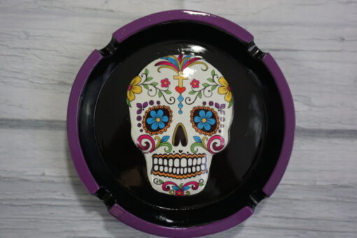 white sugar skull ashtray