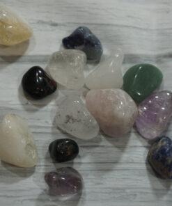mixed tumbled gemstones