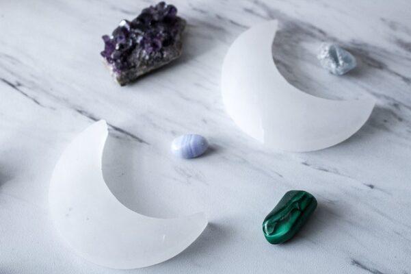 selenite crystal and gemstones