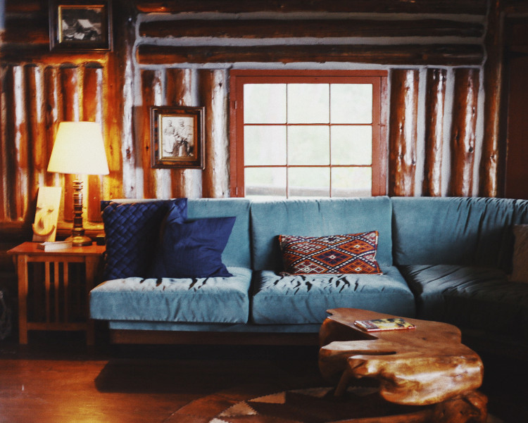 Wooden Room with Couch