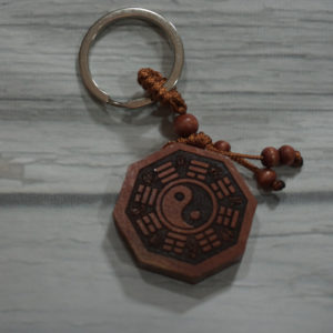wooden yin yang key chain front