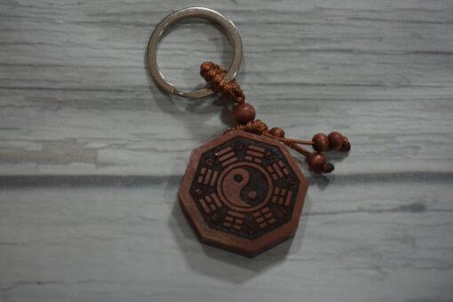 wooden yin yang key chain front
