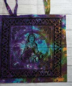 tye dye buddha tote bag
