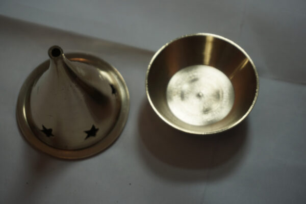 Large Brass Incense Cone Burner Opened