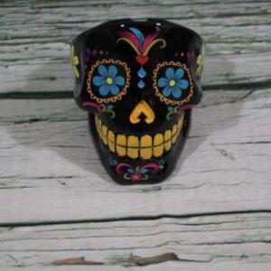 Black Sugar Skull Ashtray Front