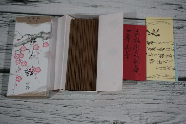 Opened Packaging of Shoyeido Plum Blossoms incense