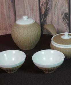 Brown Ceramic Tea Set, Teapot, 2 Cups & Canister