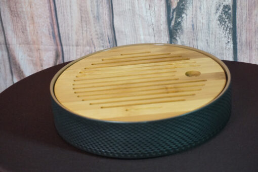 Circle Tea Boat, Ceramic & Bamboo, Black