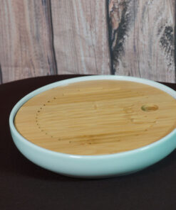 Circle Tea Boat, Ceramic & Bamboo, Celadon