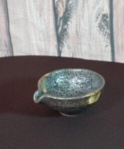 Gray & Gold Tea Bowl with Spout