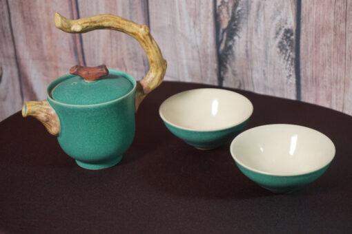 Twig Handle Teapot & 2 Cups, Green