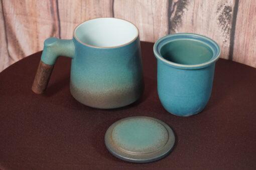 Wood-Handle Tea Mug with Strainer Components