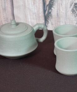 Yixing Bamboo Teapot & 2 Cups