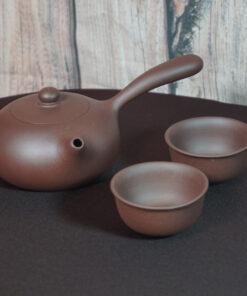 Yixing Side-Handle Teapot & 2 Cups